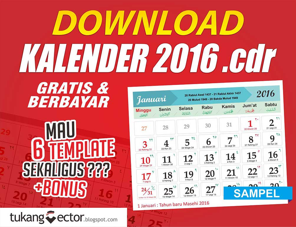 DOWNLOAD TEMPLATE KALENDER 2016 Lengkap Jawa dan Hijriyah TUKANG ...