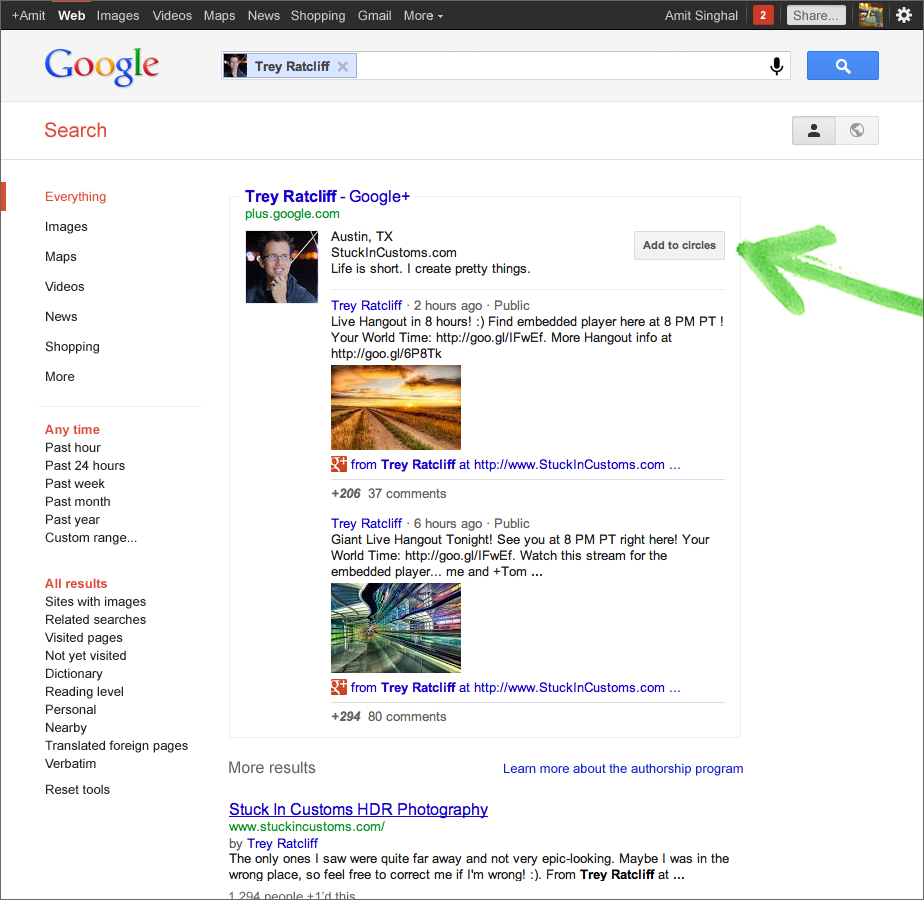 official google blog search plus your world