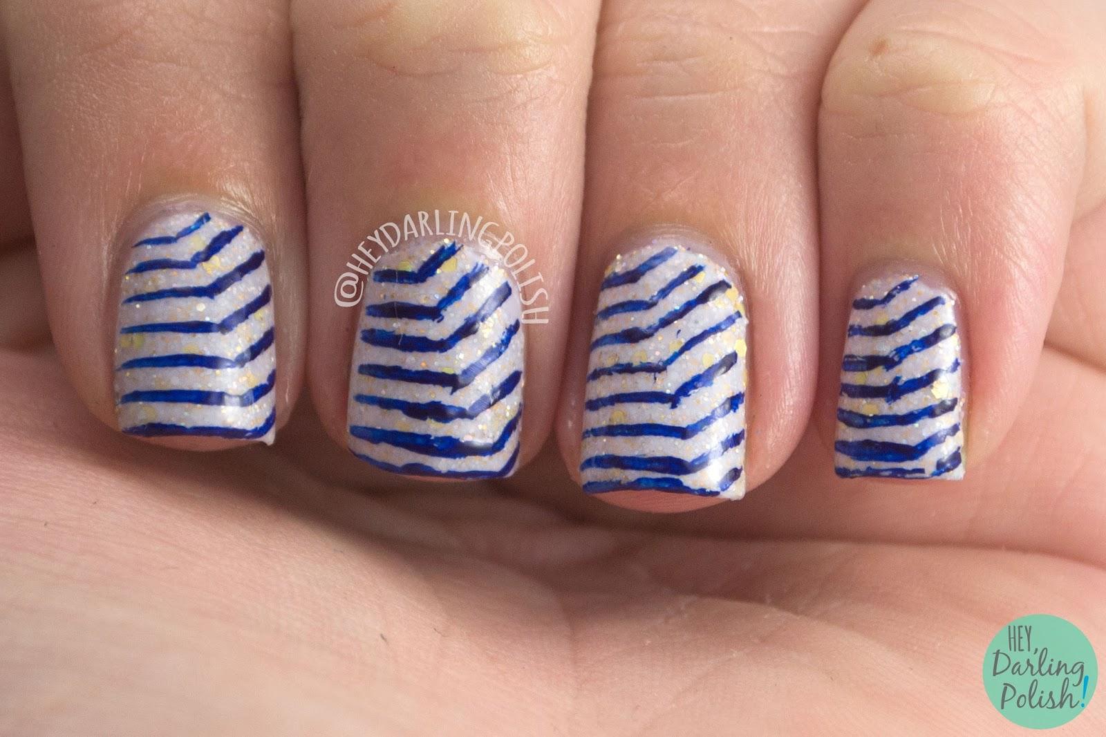 lines, blue, olaf's snowflowers, nails, nail art, nail polish, hey darling polish, black dahlia lacquer, indie polish