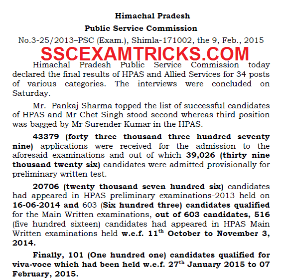 HPPSC INTERVIEW RESULTS 2015