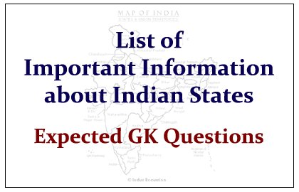 List of Important Information about Indian States