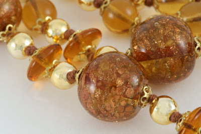 Amber Murano Beads with 22kt gold flecks