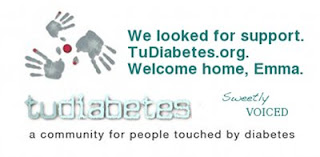 We looked for support./TuDiabetes.org./Welcome home, Emma.