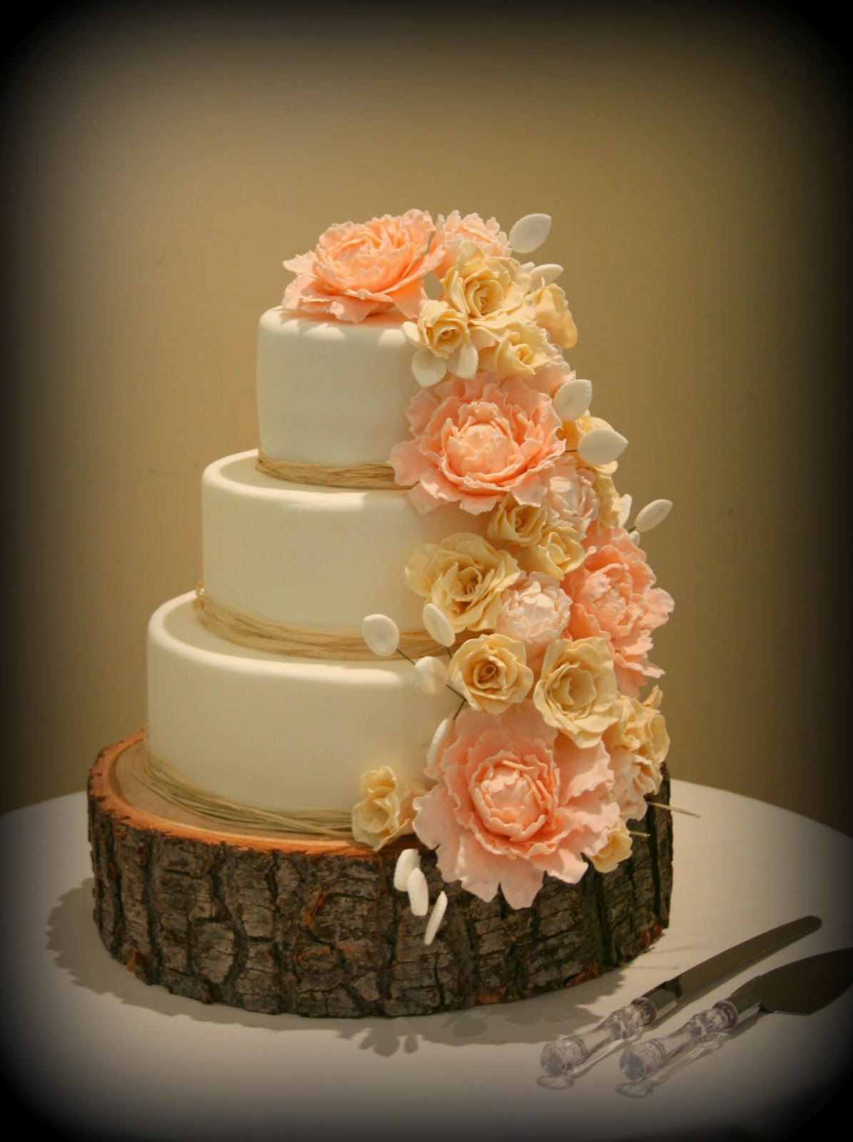 Beautiful Sugar Peony And Rose Cascade Wedding. Posted By Cake Cottage