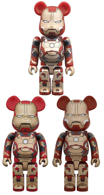 Iron Man Mark XLII 100%, 400% & 1,000% Marvel's Iron Man 3 Be@rbrick Vinyl Figures by Medicom