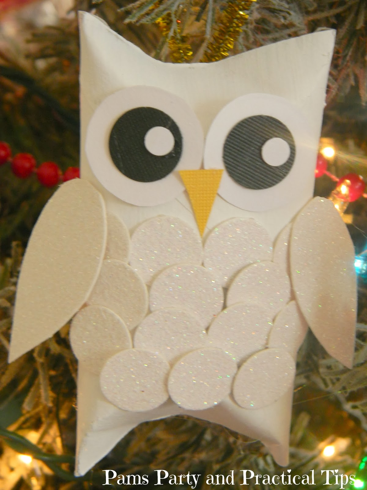 Pams party practical tips snow owl ornaments Toilet paper roll centerpieces