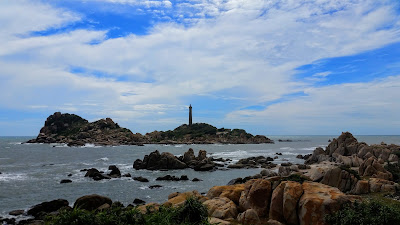 A lighthouse on a rocky island near Muine, Vietnam.