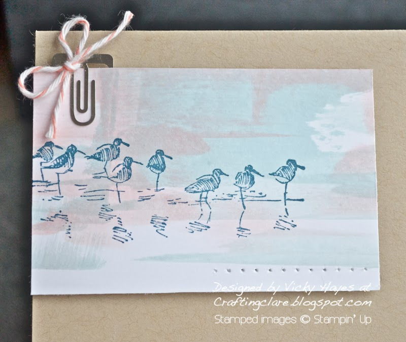 Card using Wetlands rubber stamps from Stampin' Up and embellishments