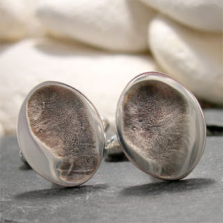 Oval Silver Fingerprint Cufflinks