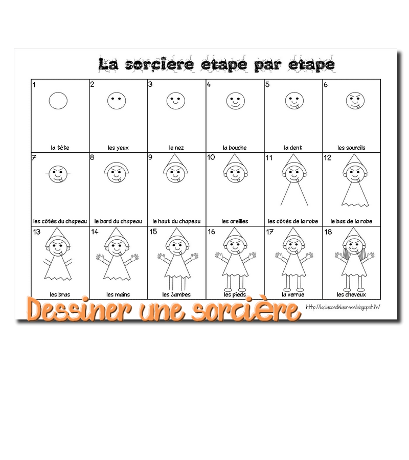 la maternelle de laur ne le bonhomme du mois dessiner une sorci re. Black Bedroom Furniture Sets. Home Design Ideas