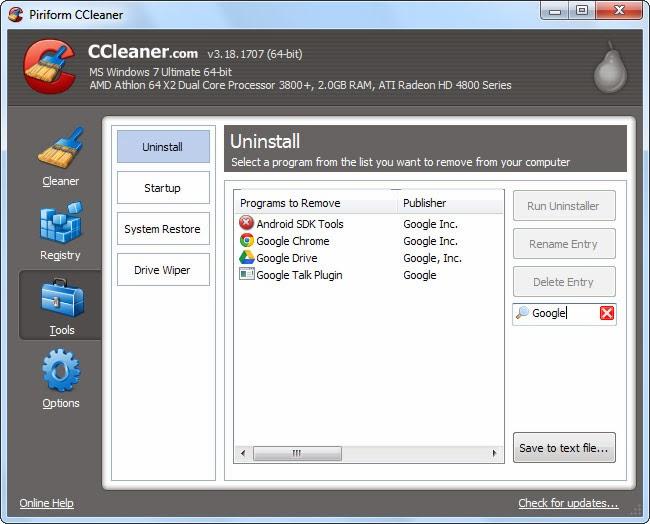 حذف البرامج باستخدامccleaner