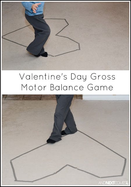 Low prep Valentine's Day gross motor boredom buster for kids from And Next Comes L