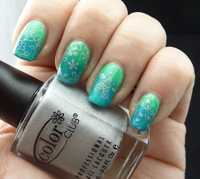 Silver stamping over Green to Blue Gradient Manicure