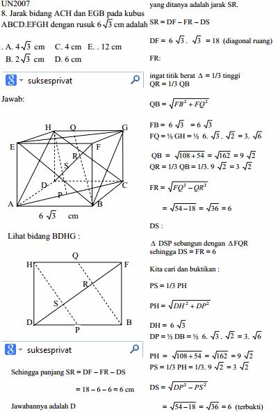 DP BBM Jarak Antara Dua Bidang Berbentuk Segi Tiga ACH ke EGB di dalam kubus ABCDEFGH