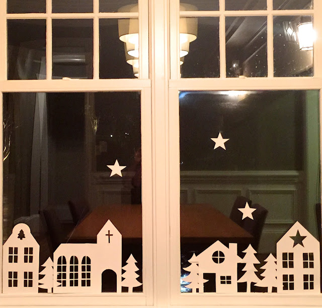 Christmas Cardstock Cutouts in the Window