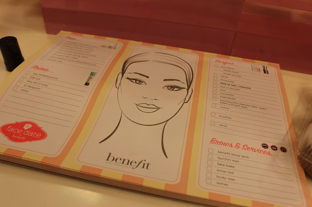 benefit cosmetics face chart