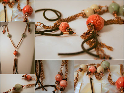 A walk through the forest: ceramic beads by NKP Designs, gemstones, copper, leather, OOAK design :: All Pretty Things