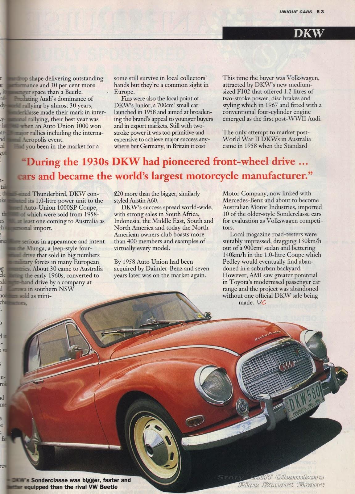 Auto-Union Project: DKW Feature - Unique Cars 1998
