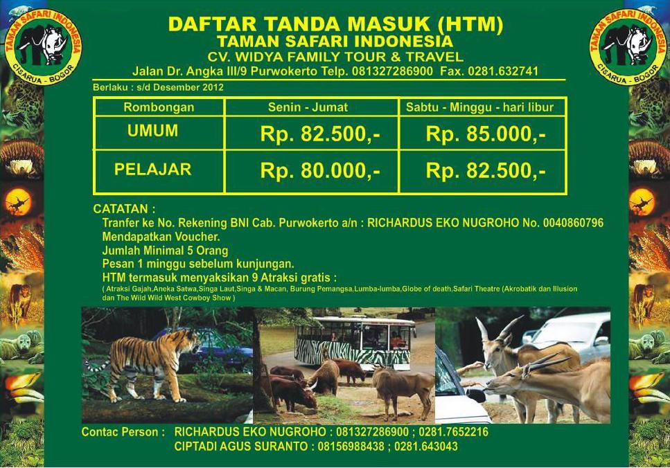 Harga Tiket Masuk Taman Safari