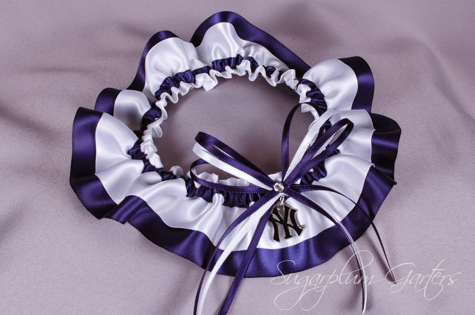 Custom New York Yankees Wedding Garter by Sugarplum Garters