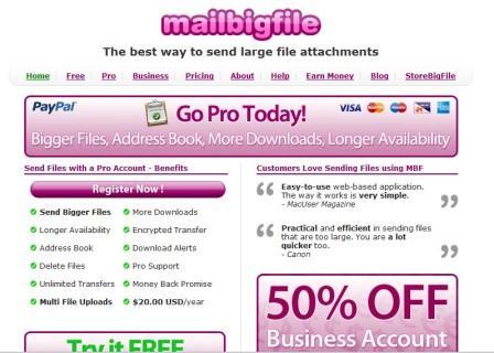 Envia archivos grandes por correo electrónico, MailBigFile