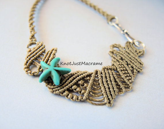 Beach theme free form micro macrame doodle necklace by Sherri Stokey