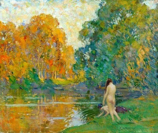 histoire de l'art analyse de tableau Arthur Wheeler , scènes de vie , scènes au bord de l'eau, une femme nu près d'une rivière . Dans un paysage naturel très coloré impressionnisme classique   naïades sirènes tableaux images romantiques féériques