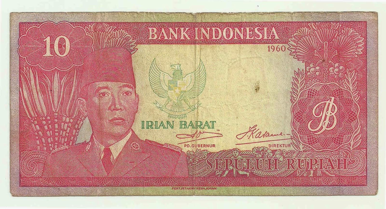 Uang kuno Seri Soekarno  Irian Barat tahun 1960 Pecahan 10 rupiah