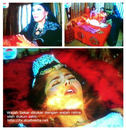 Wajah Sekar ditukar dengan wajah Ratna oleh Nyai Kcombrang