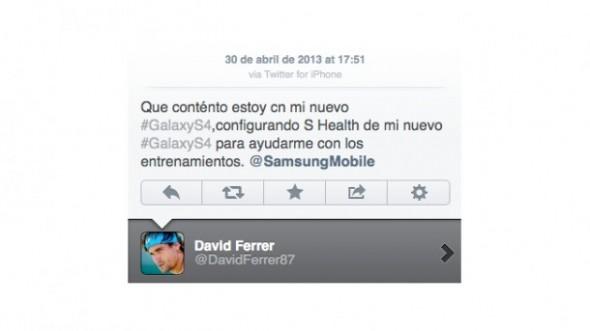 David Ferrer promociona el Samsung Galaxy S IV desde su iPhone