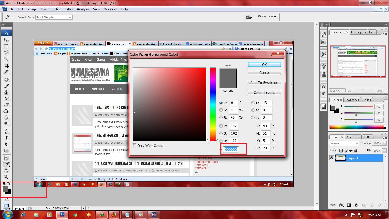 Cara Mengetahui Kode Warna Template Dengan Photoshop