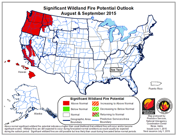 Idaho Fire Information June - Us wildland fire potential map