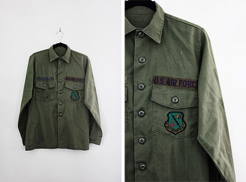 vintage army shirts at the Cut and Chic Vintage shop on Etsy