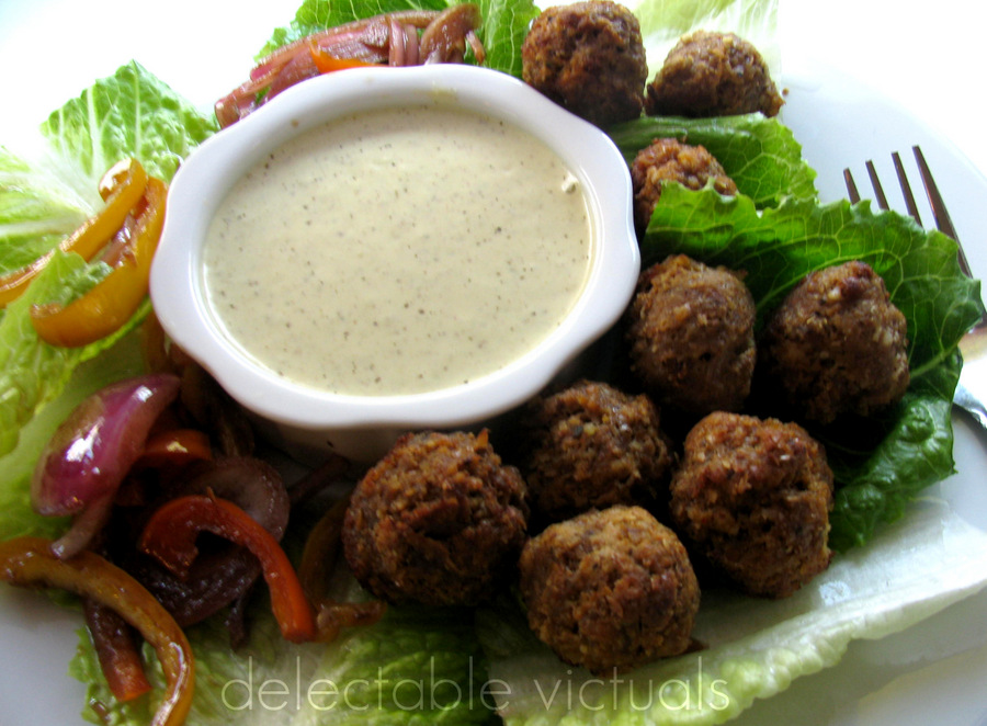 turkey meatballs fenugreek capers yogurt dip