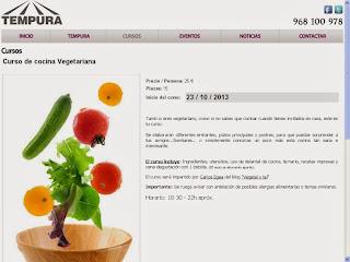 Captura de pantalla de la página con la información del curso en el sitio Tempura.es