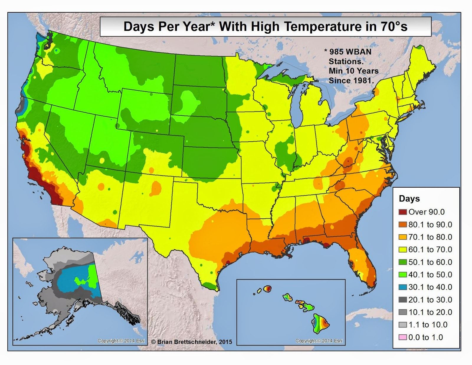 Brian Bs Climate Blog US High Temperature Categories - Us weather map high temperatures