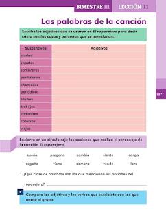 Apoyo Primaria Español 2do grado Bloque 3 lección 11 Las palabras de la canción