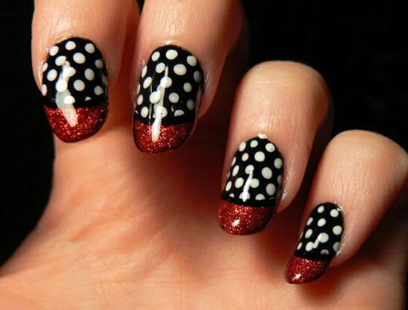 black and white nail art design