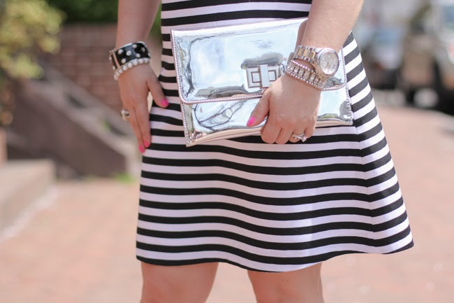 silver clutch and accessories