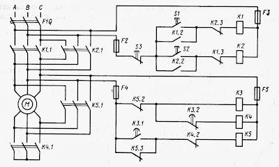 Принципиальная схема управления электродвигателем подруливающего устройства