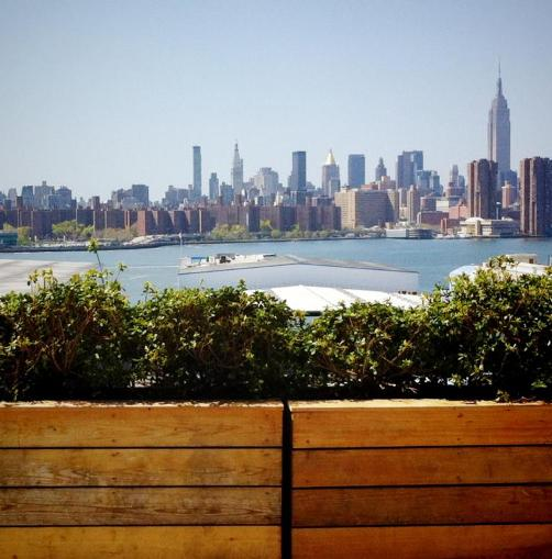 View of Manhattan from Wythe Hotel Rooftop Bar in Williamsburg