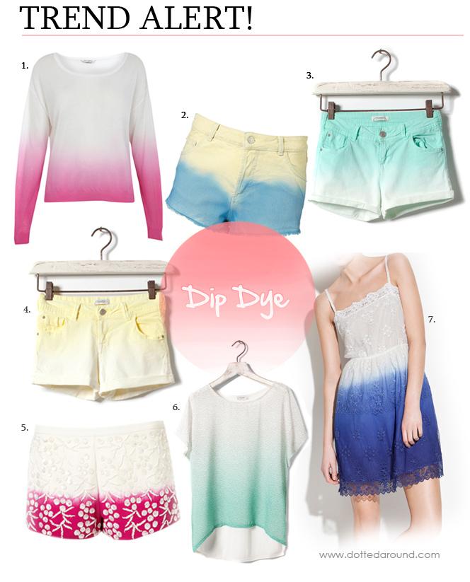 Dip dye gradient ombre shorts