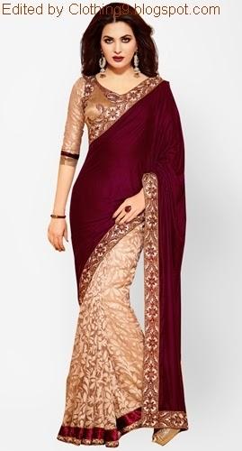 Indian velvet saree blouse designs 2015 2016 velvet sarees collection