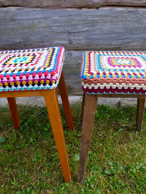 free crochet pattern granny square stool cover