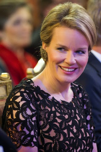 Queen Mathilde of Belgium during the autumn concert at the Royal Palace