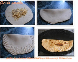 step by step instructions for making jaggery or gur ka paratha, indian flat bread recipe