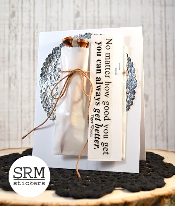 SRM Stickers Blog - A Golfer's Motto by Stacey - #card #twine #stickers #golf #glassine bag #doily #silver