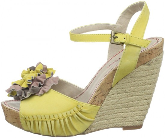 Wedge Sandal With Leather Blooms For Beautiful Women