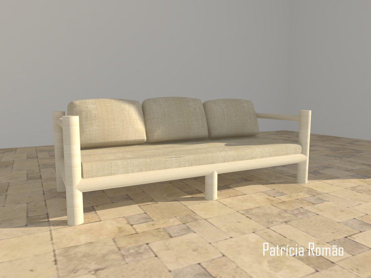 Projecto a 3D e um sofá feito de paus de madeira. #A17C2A 1280x960