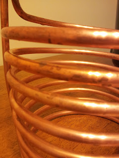 Dirty homebrew wort chiller before cleaning